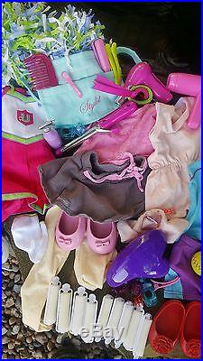 2 American Girl Doll Lot Grace Dog Accessories Clothes Case Outfit Shoes Hair