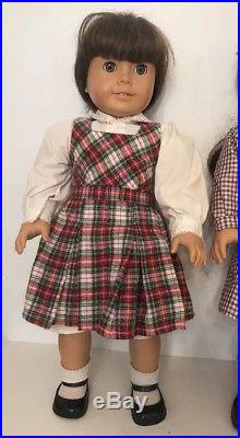3X Pleasant Company American Girl Dolls Bundle Lot with Clothing Outfits Shoes