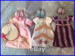 3 American Girl Outfits & Assessories Doll Streamer Trunk Wardrobe with hangers