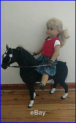 AMERICAN GIRL DOLL Lot & Horse Blonde Hair Outfit Red Vest Jean Skirt Shoes Pony