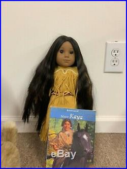 AMERICAN GIRL KAYA NATIVE AMERICAN INDIAN 18 DOLL WithHORSE AND DOG AND OUTFITS