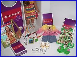 American Girl Lea Clark Doll- Plus Accessories Pajamas Bahia Outfit Lot