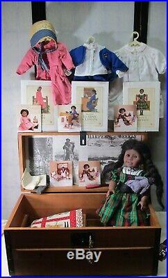 Addy Walker American girl doll lot Doll, Trunk, books, outfits, accessories