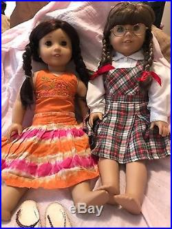 American Girl 18 Doll Jess, Molly with Lots Outfit 2006 Girl of the Year Retired