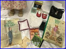 American Girl 18 Doll Kit Kittredge Meet Dress Shoes Outfit Clothes Huge Lot 30