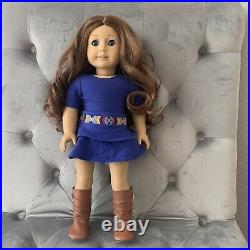 American Girl 18 Doll Saige In Meet Outfit Dress Boots With Box & Book