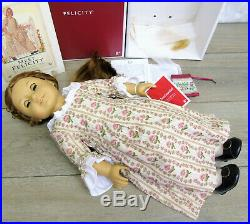 American Girl 18 FELICITY DOLL MEET OUTFIT & ACCESSORIES Garters Bit Coin BOX +