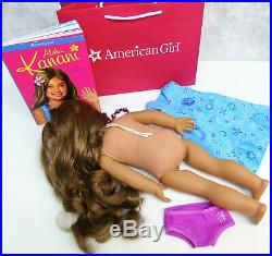 American Girl 18 KANANI DOLL In Meet Outfit DRESS PANTIES NECKLACE Book +AG Bag