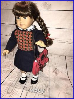 American Girl 18 Molly Doll retired with meet outfit, Pleasant Company Glasses