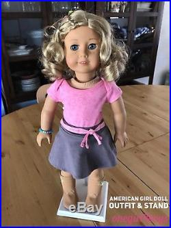 American Girl 18 TRULY ME DOLL #56 Curly Blonde Hair Blue Eyes Outfit & Stand