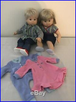 American Girl Bitty Baby Twins-Blonde Hair/Blue Eyes-EUC-Corresponding Outfits