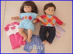 American Girl Bitty Baby Twins Boy Girl Dolls Brown Hair Brown Eyes Outfits Book