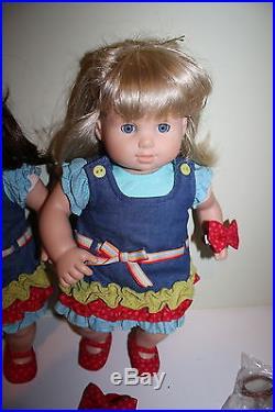 American Girl Bitty Baby Twins Doll Blonde Brunette Meet Outfits Bear Carrier