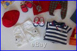 American Girl Bitty Baby Twins Girl Boy Blonde Blue Eyes Tea Cart 6 Outfits Book