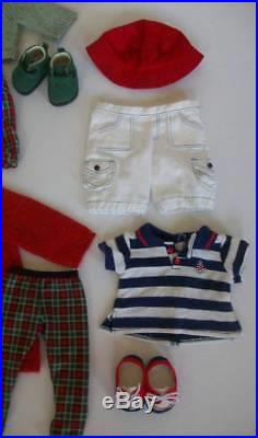 American Girl Bitty Baby Twins Girl Boy Brown hair Eyes + 6 Outfits Books
