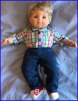 American Girl Bitty Twins Brunette Girl Blonde Boy dolls 10 Outfits Shopping Set