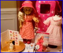 American Girl Caroline Doll Travel Outfit Ginger Cat Pink Starry Carrier Lot