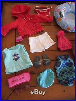 American Girl Chrissa Doll Snow Outfit Gear Warmup Set Swimsuit Sundress LLama