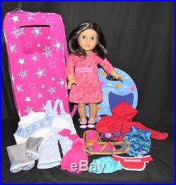 American Girl Chrissa Lot Doll Carrier Snowsuit Gear Swim Meet Outfit Bracelet