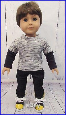 American Girl Custom Boy Doll # 15 EUC Brown Hair, Blue Eyes & 4 Pc Outfit