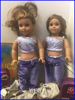 American Girl DOLLS 2 Marisols Twins Plus Lots Of Accessories Outfits Phones