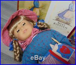 American Girl DOLL 18 KIRSTEN IN Swedish MEET OUTFIT Blonde Hair Blue Eyes Book