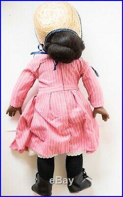 American Girl Doll Addy Classic Meet Outfit, Pink Striped Dress, Hat Pleasant