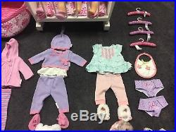 American Girl Doll Bitty Baby Lot 2 Dolls + Outfits Clothes Cradle Accessories
