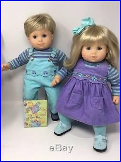 American Girl Doll Bitty Twins Blonde Hair Blue Eyes in Box with 6 Outfits EUC