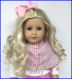 American Girl Doll Caroline Blonde Hair Aqua Blue Eyes AG 5pc outfit-Retired