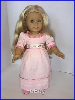 American Girl Doll Caroline in meet outfit blond & blue eyes