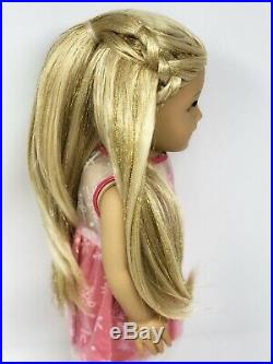 American Girl Doll Custom CYO Green Eyes, Blonde Sparkle Hair, Holiday Outfit