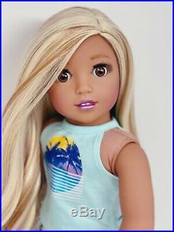 American Girl Doll Custom CYO Nanea, Brown Eyes, Blonde hair, Joss Outfit Hana