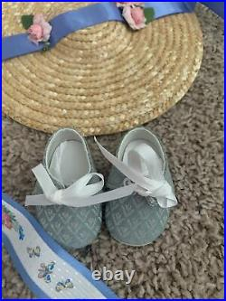 American Girl Doll Felicity Summer Outfit. Gown, Ribbon, Shoes, Hat, Cap EUC