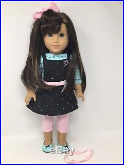 American Girl Doll Grace Brown Hair Blue Eyes Baking outfit Retired GOTY'15