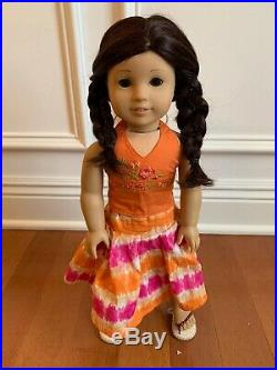 American Girl Doll Jess Lot Outfits, Pajamas Slippers Book BackPack Accessories