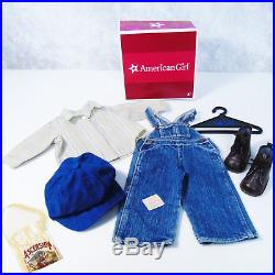 American Girl Doll KIT HOBO OVERALLS OUTFIT Cap Ascension Bag Shirt Boots AG Box
