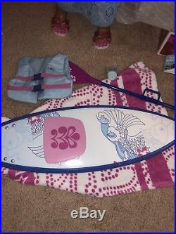 American Girl Doll Kanani Retired Lot EUC Dog, Beach Outfit, Surfboard Boxes
