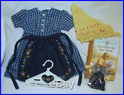 American Girl Doll Kirsten On The Trail Outfit Checkered Dress Book Retired PC