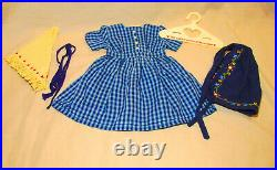 American Girl Doll Kirsten On the Trail Checked Dress Shawl Apron Ties Outfit PC