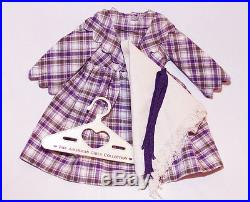 American Girl Doll Kirsten Plaid Promise Purple White Dress Outfit Ribbons Shawl