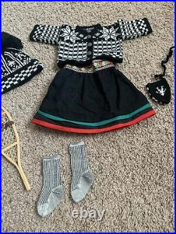 American Girl Doll Kirsten's Winter Knit Woolens Outfit Hat Socks & Snowshoes