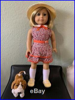 American Girl Doll Kit Kittredge Historical with RARE Grace Dog and Outfit