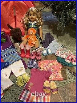 American Girl Doll Lanie GOTY Lot Retired Tent Outfits Chocolate Lab