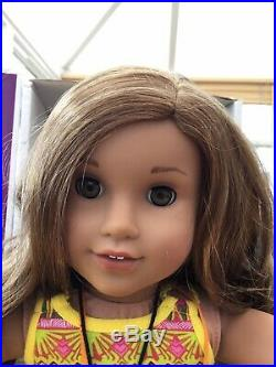 American Girl Doll Lea In Meet Outfit, Camera And Compass. Mint