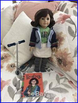 American Girl Doll Lindsey with Meet Outfit Book and Scooter Lot Set