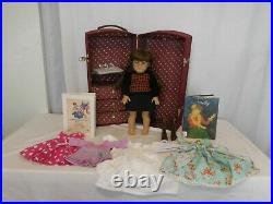 American Girl Doll Molly in her Meet Outfit + Book + a Steamer Trunk + AG Dres