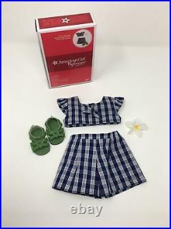 American Girl Doll Nanea Palaka Outfit Set HTF Retired Top Bottom shoes clip EUC