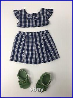 American Girl Doll Nanea's Palaka Outfit shorts shoes top Shirt EUC