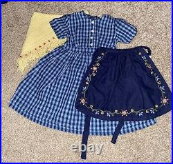 American Girl Doll Pleasant Company Kirsten Blue Checkered Dress & Apron Outfit